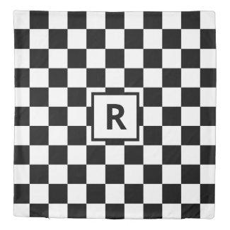 Monogram Black White Checkered Pattern Reversible Duvet Cover
