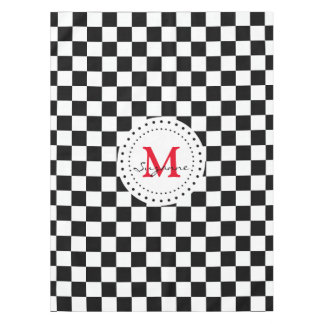 Monogram Black White Checkered Pattern Tablecloth Part 61