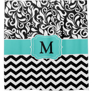 Teal Shower Curtains Zazzle - Black and white chevron shower curtain
