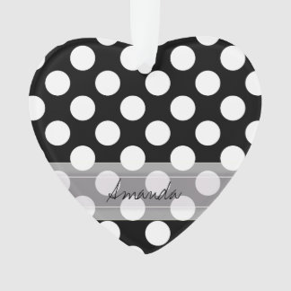 Monogram Black White Chic Polka Dot Pattern