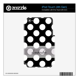 Monogram Black White Chic Polka Dot Pattern Decals For iPod Touch 4G