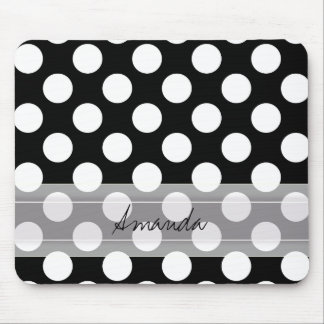 Monogram Black White Chic Polka Dot Pattern Mouse Pad
