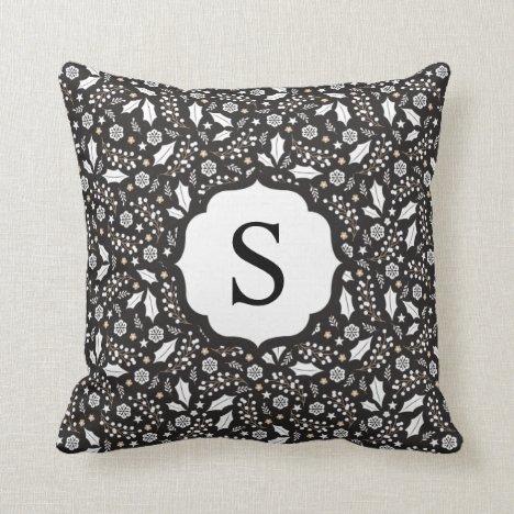 Monogram Black White Christmas Floral Pattern Throw Pillow