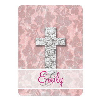 Monogram Black White Cross Girly pink Floral Lace Card