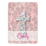 Monogram Black White Cross Girly pink Floral Lace 5x7 Paper Invitation Card