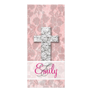 Monogram Black White Cross Girly pink Floral Lace Rack Card