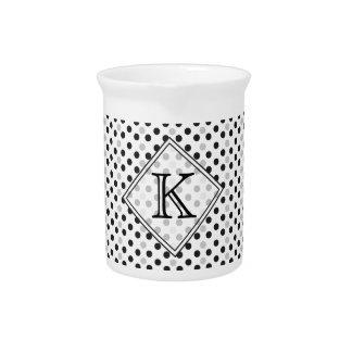 Monogram  Black White Customized Drink Pitcher