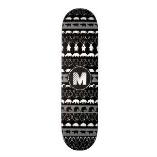 Monogram Black White Cute Animals Pattern #2 Skateboard