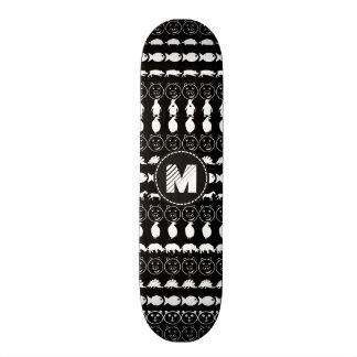 Monogram Black White Cute Animals Pattern Skateboard Deck