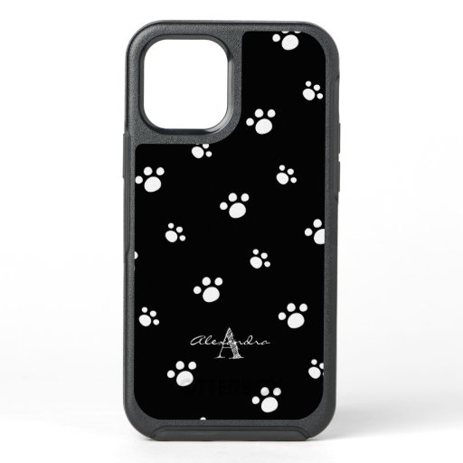 Monogram | Black & White Cute Puppy Dog Paw Print OtterBox Symmetry iPhone 12 Pro Case