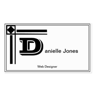 Monogram Black & White Double-Sided Standard Business Cards (Pack Of 100)