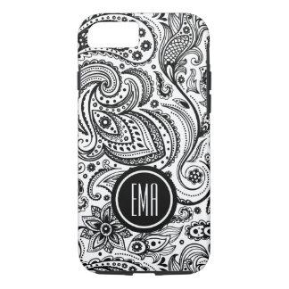 Monogram Black & White Floral paisley Pattern iPhone 7 Case