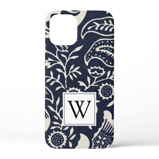 Monogram Black White Flower Pattern   iPhone 12 Mini Case