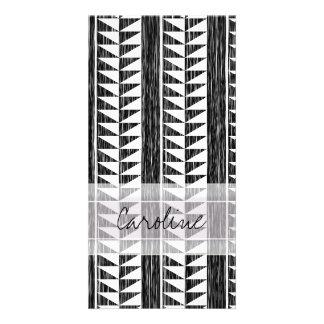 Monogram Black White Geometric Ikat Stripe Pattern Card
