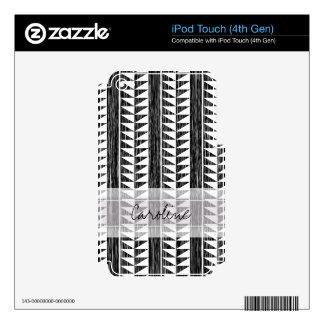 Monogram Black White Geometric Ikat Stripe Pattern iPod Touch 4G Skin