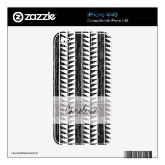 Monogram Black White Geometric Ikat Stripe Pattern Decal For iPhone 4