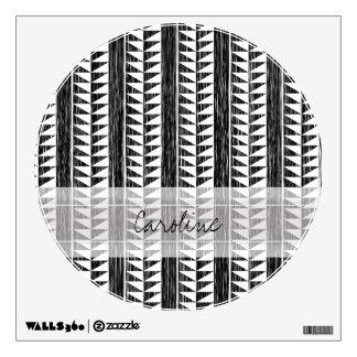 Monogram Black White Geometric Ikat Stripe Pattern Wall Sticker