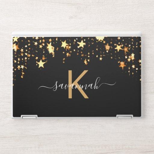 Monogram black white gold stars typography HP laptop skin