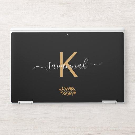 Monogram black white gold typography HP laptop skin