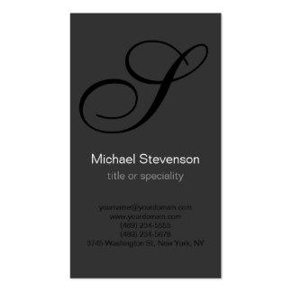 Monogram Black White Grey Business Card