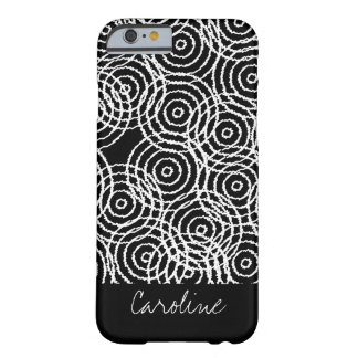 Monogram Black White Ikat Circle Geometric Pattern Barely There iPhone 6 Case