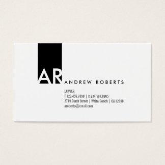 Monogram Black White Modern Business Card