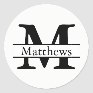 Monogram Black & White Name - Circle Sticker