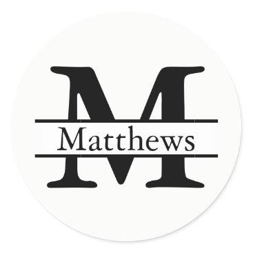 Professional Business Monogram Black & White Name - Circle Sticker