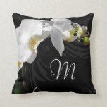 Monogram Black/White Orchid Throw Pillow
