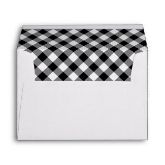 Monogram Black White Plaid Printed Return Address Envelope