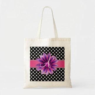 Monogram black white polka dots pink daisy bags