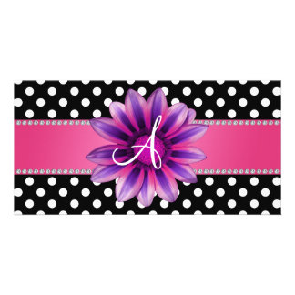 Monogram black white polka dots pink daisy photo card
