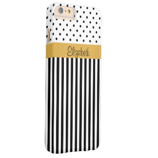 Monogram Black White Polka Dots Stripes ColorBlock Barely There iPhone 6 Plus Case