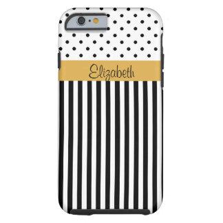 Monogram Black White Polka Dots Stripes ColorBlock Tough iPhone 6 Case