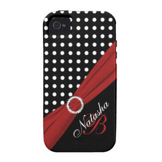 Monogram Black White Red Polka Dots iPhone 4 Vibe iPhone 4 Case