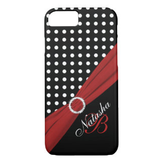Monogram Black White Red Polka Dots iPhone 7 Case