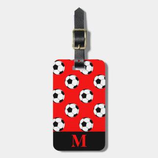 Monogram Black/White Soccer Football Balls on Red Bag Tag