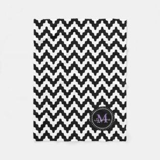 Monogram Black White Soft Chevron Fleece Blanket
