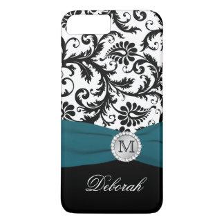 Monogram Black, White, Teal Damask iPhone 7 Case