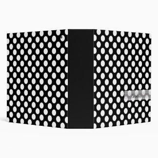 Monogram Black White Trendy Fun Polka Dot Pattern 3 Ring Binder