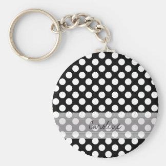 Monogram Black White Trendy Fun Polka Dot Pattern Basic Round Button Keychain