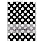 Monogram Black White Trendy Fun Polka Dot Pattern Card