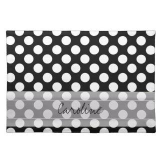 Monogram Black White Trendy Fun Polka Dot Pattern Cloth Placemat