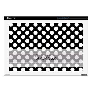 Monogram Black White Trendy Fun Polka Dot Pattern Decal For Laptop