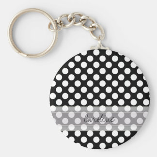 Monogram Black White Trendy Fun Polka Dot Pattern Keychain