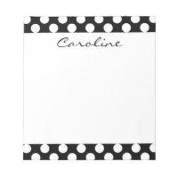 Monogram Black White Trendy Fun Polka Dot Pattern Notepad