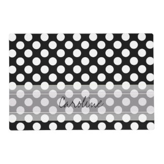 Monogram Black White Trendy Fun Polka Dot Pattern Placemat