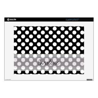 Monogram Black White Trendy Fun Polka Dot Pattern Skin For Laptop