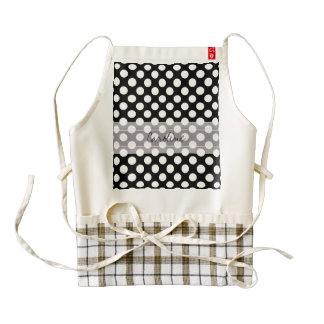 Monogram Black White Trendy Fun Polka Dot Pattern Zazzle HEART Apron