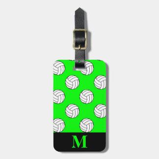 Monogram Black/White Volleyball Balls, Lime Green Luggage Tag
